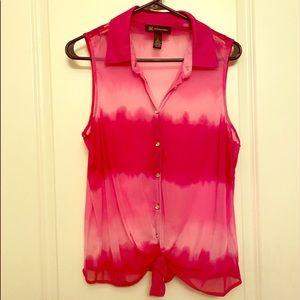 INC Pink Ombré Tie Front Top